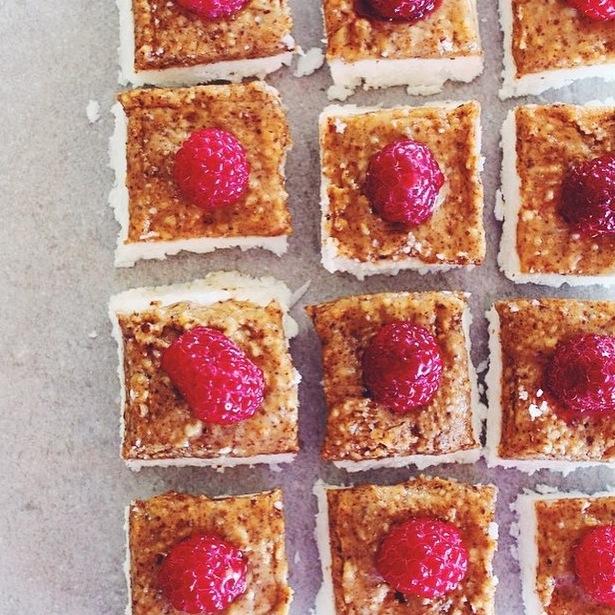 coco almond raspb squares